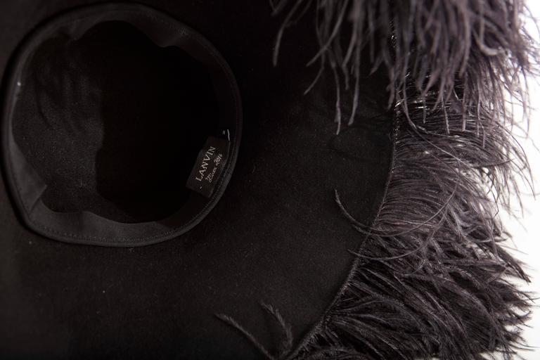 Alber Elbaz Lanvin Runway Black Wool Felt Hat Ostrich Feather Trim, Fall 2014 For Sale 4