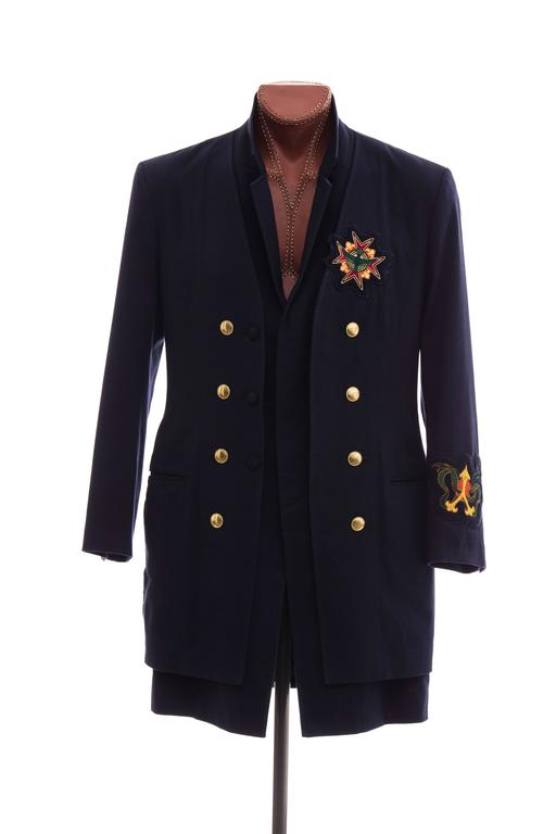 Yohji Yamamoto Men's Cotton Rayon Wool Navy Coat With Patches, Fall 2012 2