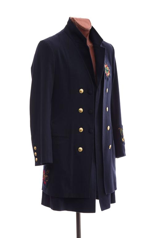 Yohji Yamamoto Men's Cotton Rayon Wool Navy Coat With Patches, Fall 2012 3