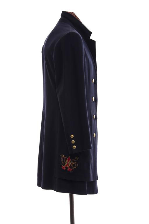 Yohji Yamamoto Men's Cotton Rayon Wool Navy Coat With Patches, Fall 2012 4