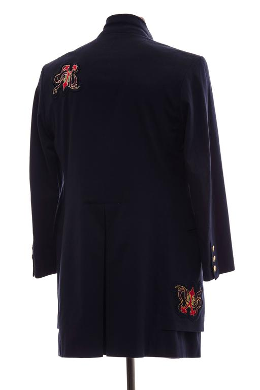 Yohji Yamamoto Men's Cotton Rayon Wool Navy Coat With Patches, Fall 2012 For Sale 1