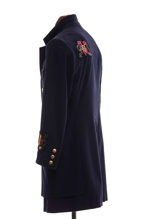 Yohji Yamamoto Men's Cotton Rayon Wool Navy Coat With Patches, Fall 2012 7