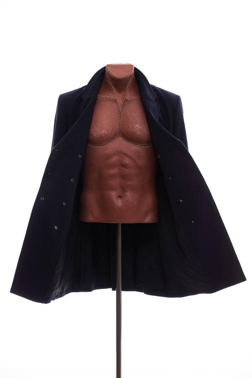 Yohji Yamamoto Men's Cotton Rayon Wool Navy Coat With Patches, Fall 2012 9