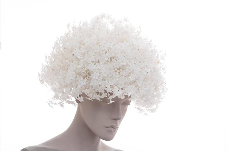 Gray Jack McConnell White Mesh Hat With Flowers And Crystals  For Sale