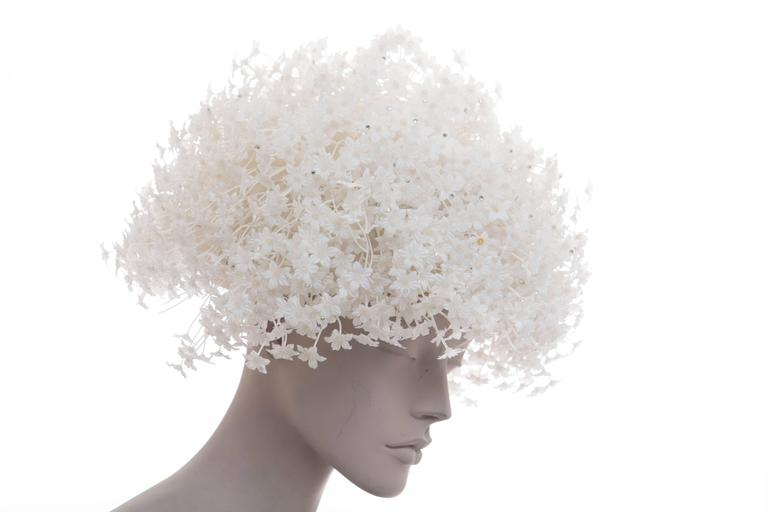 Women's Jack McConnell White Mesh Hat With Flowers And Crystals  For Sale