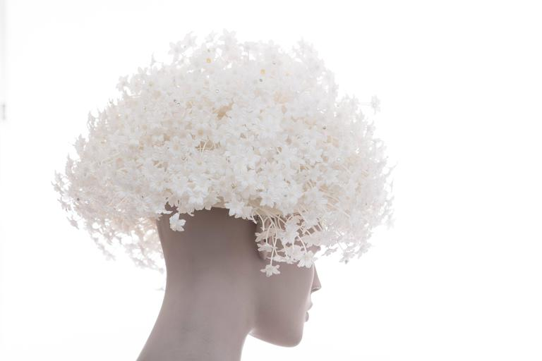 Jack McConnell White Mesh Hat With Flowers And Crystals  For Sale 1
