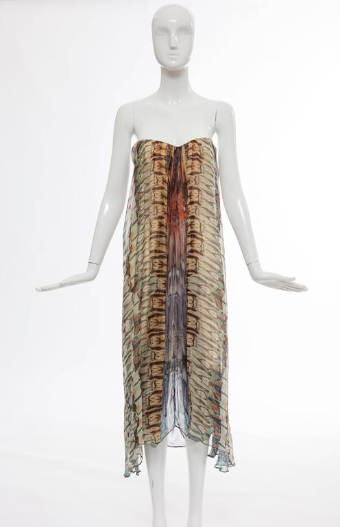 "Alexander McQueen, Spring-Summer 2008 butterfly printed silk chiffon strapless evening dress with buit-in brassiere, back zip and lined in silk.  IT. 44 US. 8  Bust 32"", Waist 30"", Hips 40"", Length 40"""