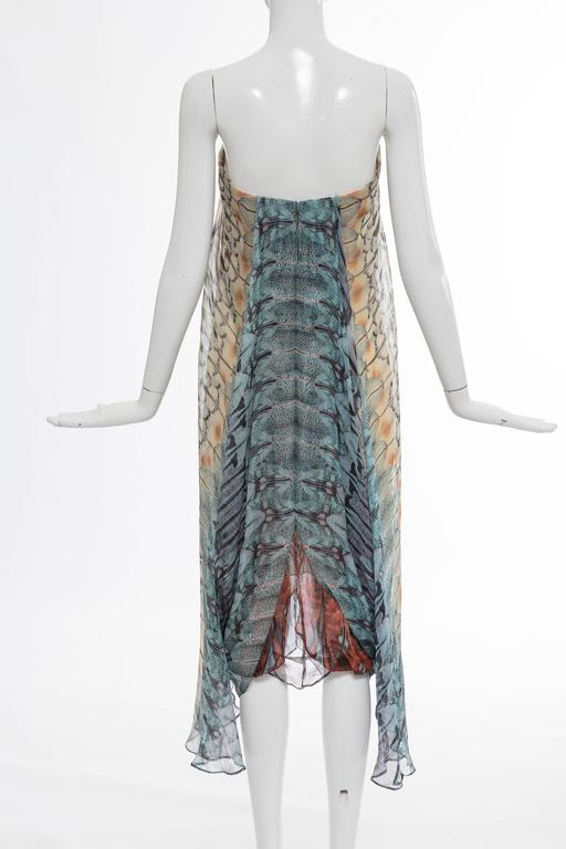 Brown Alexander McQueen Butterfly Printed Silk Chiffon Dress, Spring - Summer 2008 For Sale