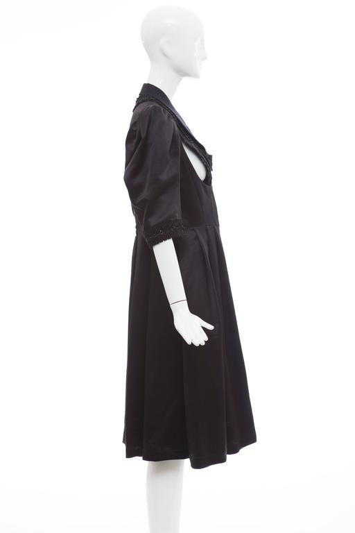 Women's Comme Des Garcons Navy Black Wool Silk Satin Embroidered Dress, Fall 2006 For Sale