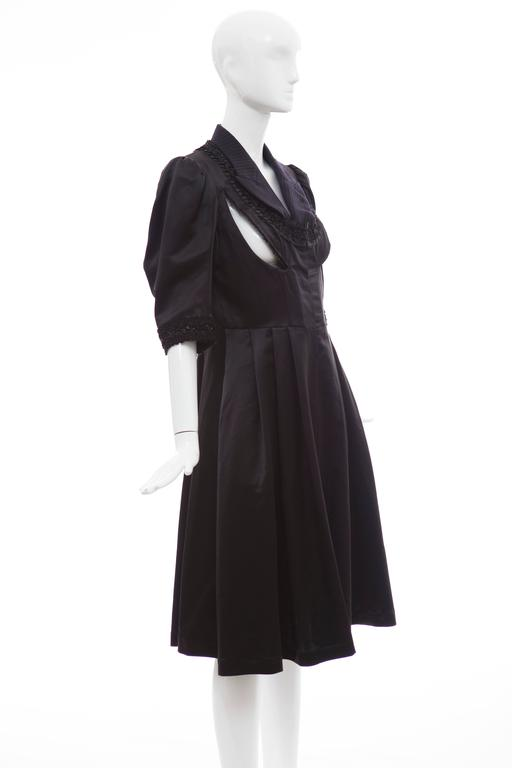 Comme Des Garcons Navy Black Wool Silk Satin Embroidered Dress, Fall 2006 For Sale 1