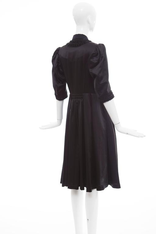 Comme Des Garcons Navy Black Wool Silk Satin Embroidered Dress, Fall 2006 For Sale 3