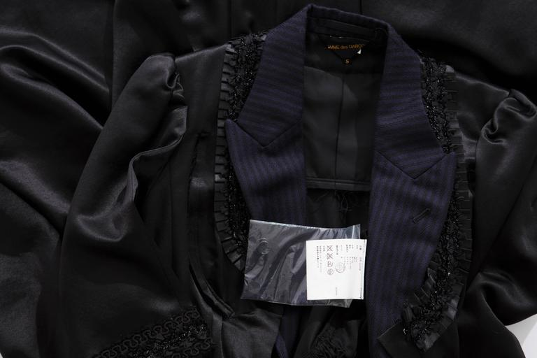 Comme Des Garcons Navy Black Wool Silk Satin Embroidered Dress, Fall 2006 For Sale 4