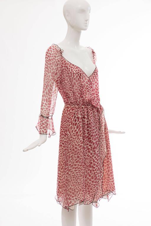 Women's Tom Ford For Yves Saint Laurent Silk Chiffon Lip Print Wrap Dress, Spring 2004 For Sale