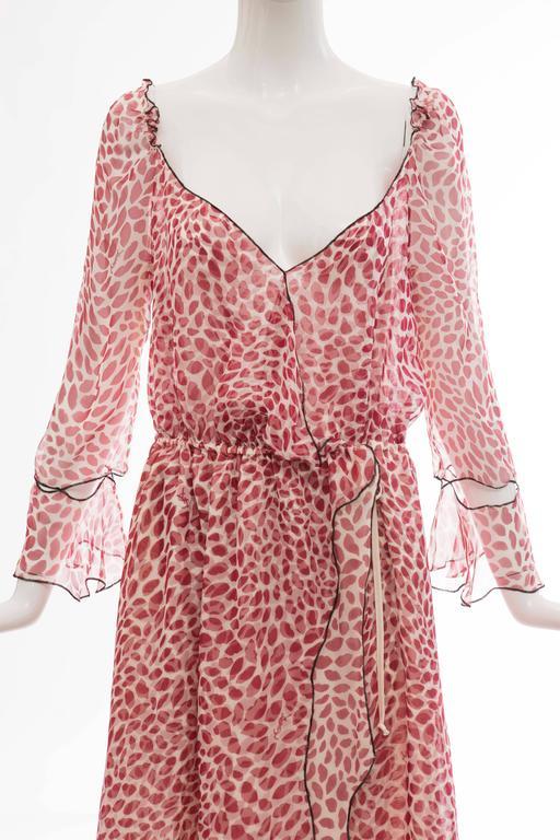 Tom Ford For Yves Saint Laurent Silk Chiffon Lip Print Wrap Dress, Spring 2004 For Sale 1