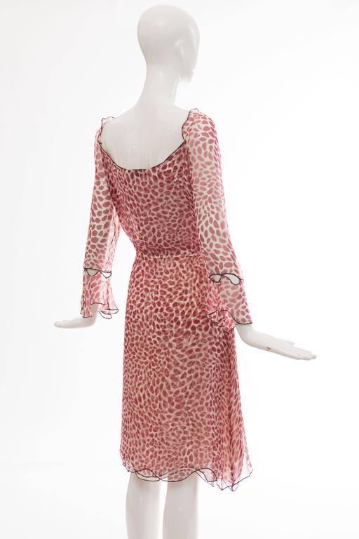 Tom Ford For Yves Saint Laurent Silk Chiffon Lip Print Wrap Dress, Spring 2004 For Sale 2