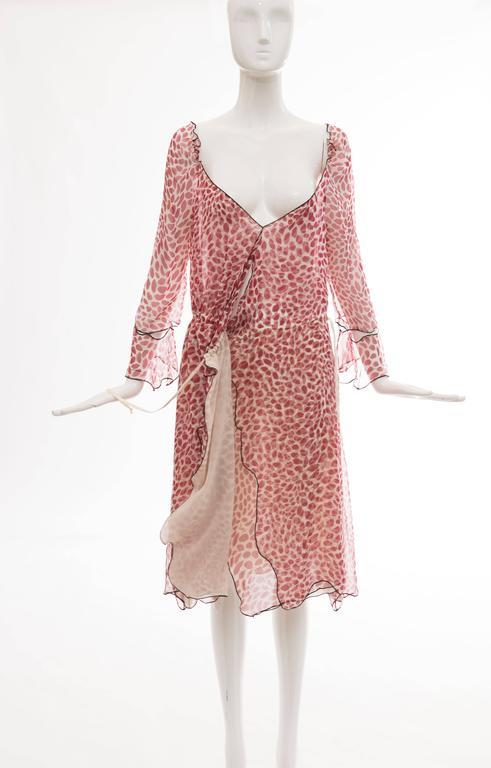 Tom Ford For Yves Saint Laurent Silk Chiffon Lip Print Wrap Dress, Spring 2004 For Sale 4
