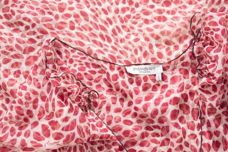 Tom Ford For Yves Saint Laurent Silk Chiffon Lip Print Wrap Dress, Spring 2004 For Sale 5