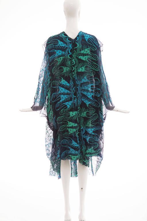 Zandra Rhodes Printed Silk Navy Blue Turquoise Green Kaftan, Circa 1970's 2