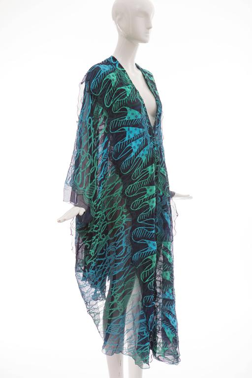 Zandra Rhodes Printed Silk Navy Blue Turquoise Green Kaftan, Circa 1970's 4