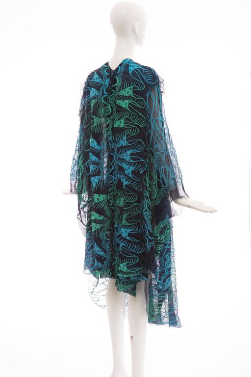 Zandra Rhodes Printed Silk Navy Blue Turquoise Green Kaftan, Circa 1970's 6