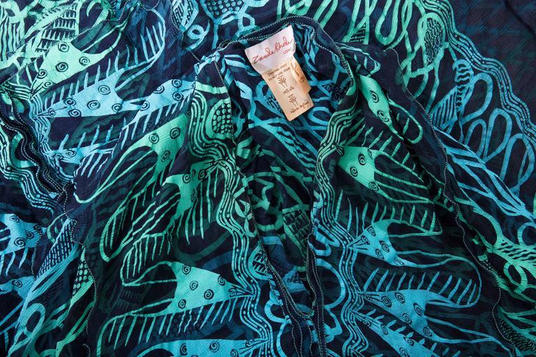 Zandra Rhodes Printed Silk Navy Blue Turquoise Green Kaftan, Circa 1970's 10