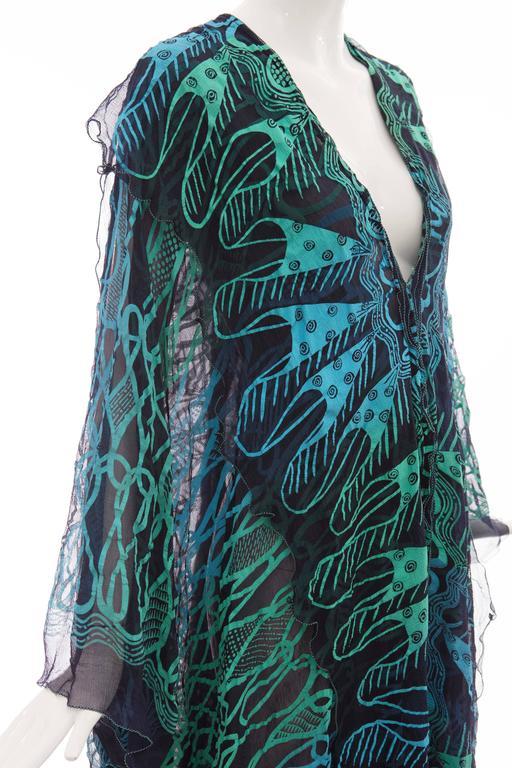 Zandra Rhodes Printed Silk Navy Blue Turquoise Green Kaftan, Circa 1970's 8