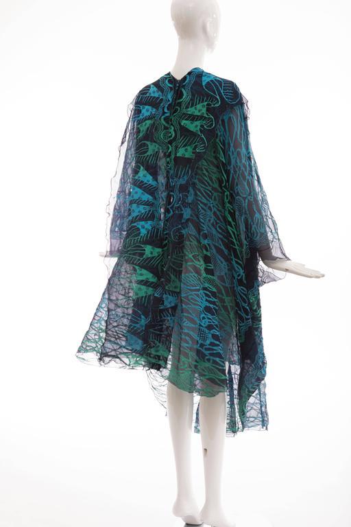 Zandra Rhodes Printed Silk Navy Blue Turquoise Green Kaftan, Circa 1970's 9