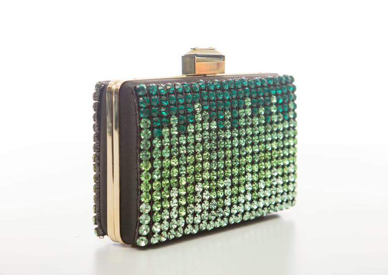 Alber Elbaz for Lanvin, Spring-Summer 2012 black satin Minaudière Box clutch with gold-tone hardware, optional snake chain shoulder strap, ombré diamante of graduating green swarovski crystals, tonal satin lining and push-lock closure at