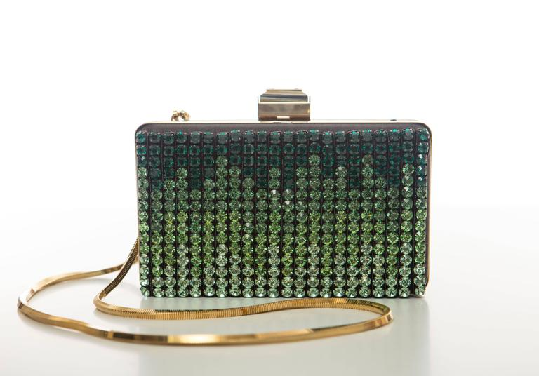 Black Alber Elbaz For Lanvin Minaudière Clutch Graduating Ombre Crystals, Spring 2012 For Sale