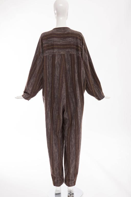 Black Issey Miyake Plantation Striped Woven Cotton Wood Buttons Jumpsuit, Circa 1980s For Sale