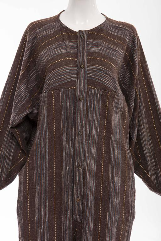 Women's or Men's Issey Miyake Plantation Striped Woven Cotton Wood Buttons Jumpsuit, Circa 1980s For Sale