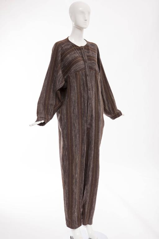 Issey Miyake Plantation Striped Woven Cotton Wood Buttons Jumpsuit, Circa 1980s For Sale 1