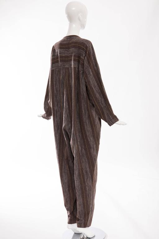 Issey Miyake Plantation Striped Woven Cotton Wood Buttons Jumpsuit, Circa 1980s For Sale 2