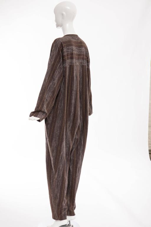 Issey Miyake Plantation Striped Woven Cotton Wood Buttons Jumpsuit, Circa 1980s For Sale 3
