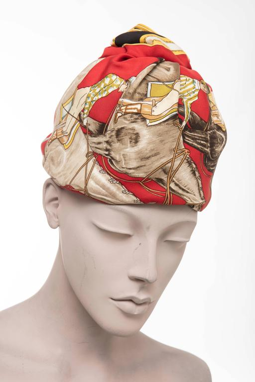 Beige Hermes Equestrian Printed Silk Turban, Circa 1970's For Sale