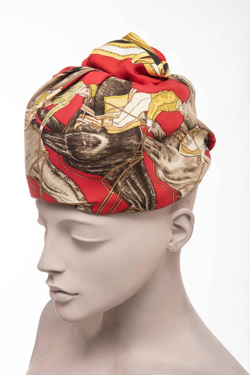 Hermes Equestrian Printed Silk Turban, Circa 1970's In Excellent Condition For Sale In Cincinnati, OH