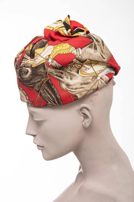 Women's Hermes Equestrian Printed Silk Turban, Circa 1970's For Sale