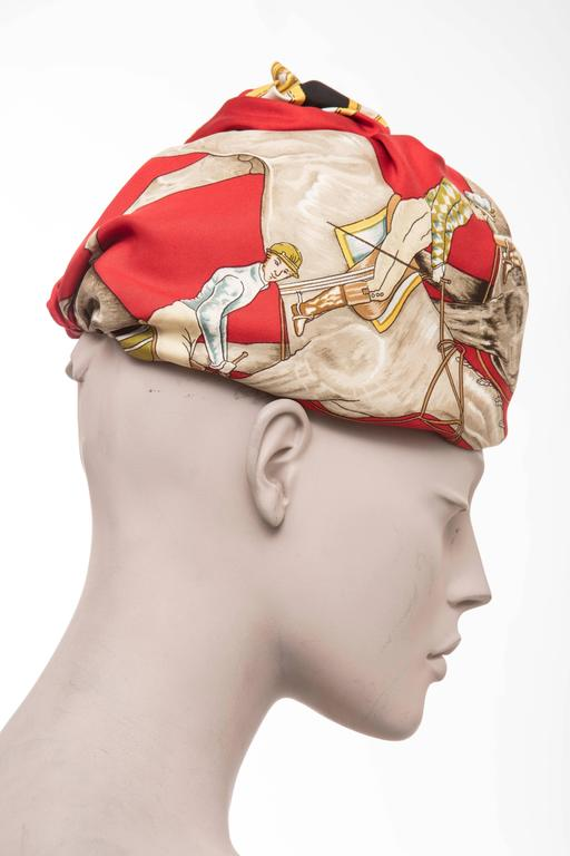 Hermes Equestrian Printed Silk Turban, Circa 1970's For Sale 3