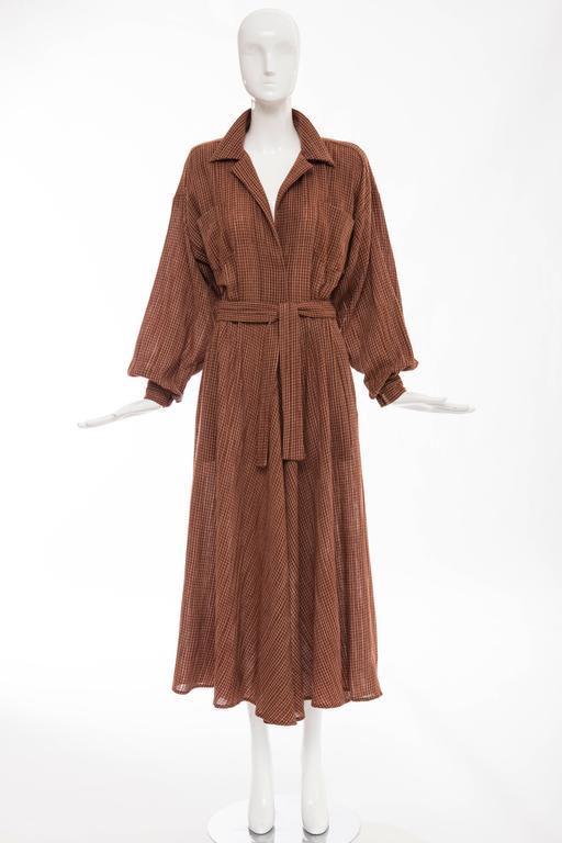 Norma Kamali Terracotta Cotton Gauze Windowpane Check Dress, Circa 1980's 2