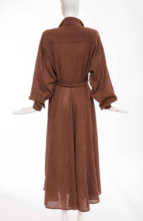 Brown Norma Kamali Terracotta Cotton Gauze Windowpane Check Dress, Circa 1980's For Sale