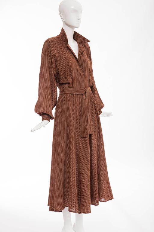 Norma Kamali Terracotta Cotton Gauze Windowpane Check Dress, Circa 1980's In Excellent Condition For Sale In Cincinnati, OH