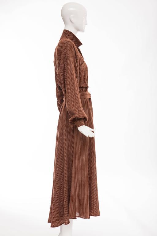 Women's Norma Kamali Terracotta Cotton Gauze Windowpane Check Dress, Circa 1980's For Sale
