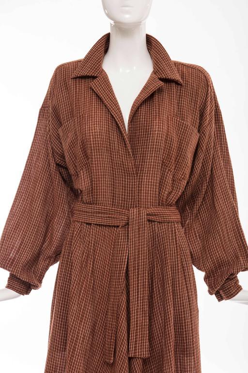 Norma Kamali Terracotta Cotton Gauze Windowpane Check Dress, Circa 1980's For Sale 1