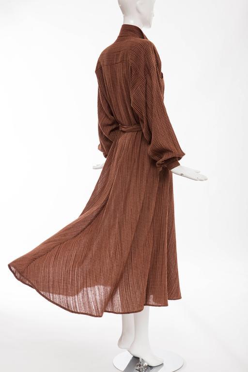 Norma Kamali Terracotta Cotton Gauze Windowpane Check Dress, Circa 1980's For Sale 2