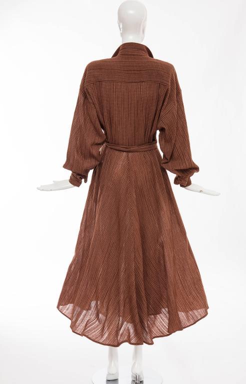 Norma Kamali Terracotta Cotton Gauze Windowpane Check Dress, Circa 1980's For Sale 3