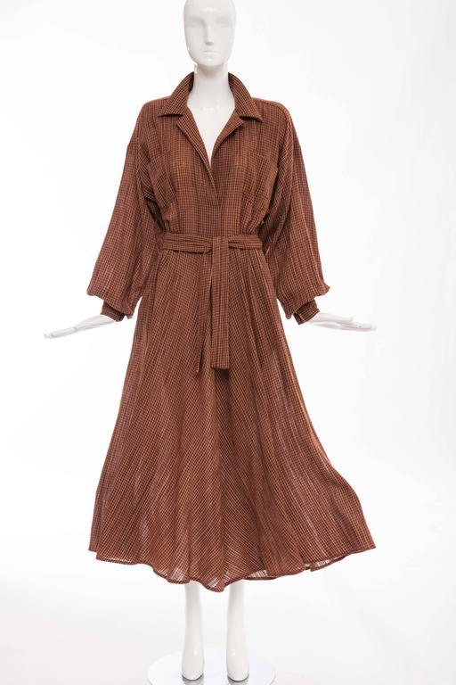 Norma Kamali Terracotta Cotton Gauze Windowpane Check Dress, Circa 1980's For Sale 4