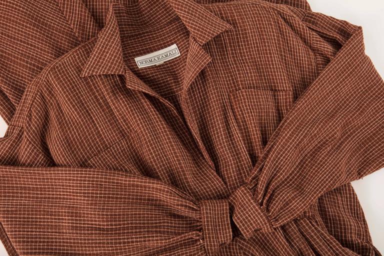 Norma Kamali Terracotta Cotton Gauze Windowpane Check Dress, Circa 1980's For Sale 5