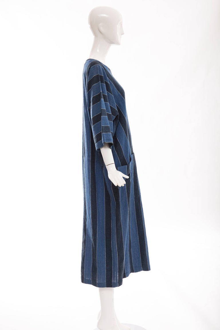 Issey Miyake Plantation Blue Striped Woven Cotton Dress, Circa 1980's In Excellent Condition For Sale In Cincinnati, OH