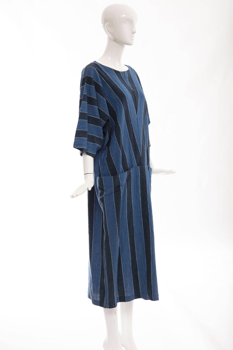 Women's or Men's Issey Miyake Plantation Blue Striped Woven Cotton Dress, Circa 1980's For Sale