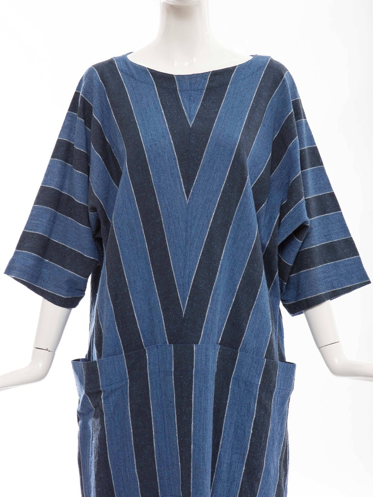 Issey Miyake Plantation Blue Striped Woven Cotton Dress, Circa 1980's For Sale 1